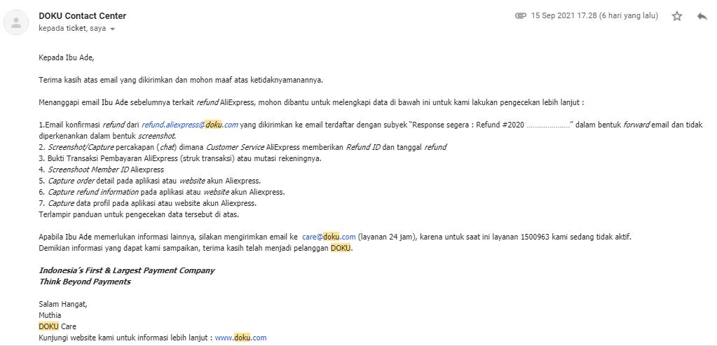 email doku refund aliexpress
